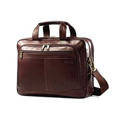 Samsonite Columbian Leather Zip Toploader Brown Leather – A general term for hide or skin with its original fibrous structure more or less intact, tanned