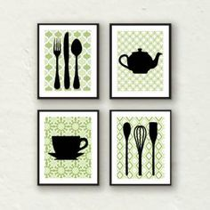 Sale Modern Kitchen Wall Decor Utensils Teapot Teacup Silhouette Set Of 4 Prints