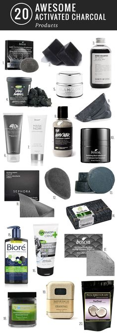 20 Awesome Activated Charcoal Products http://hellonatural.co/20-awesome-activated-charcoal-products/