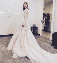 New York Bridal Fashion Week wedding dress aline lace long sleeves back train gown bridal collection 2016 spring hayley paige catwalk #wedding #bridal