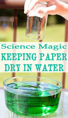 Keep paper dry in water with science magic! Can you keep paper dry in water, even when it's completely submerged? You can if you understand the science in this magic meets science water project. Easy Science Experiments, Science Activities For Kids, Stem Science, Kindergarten Science, Science Fair, Science Lessons, Teaching Science, Kid Science, Steam Activities