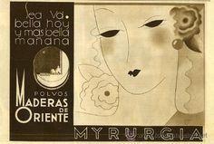 ANUNCIO DE POLVOS MADERAS DE ORIENTE DE MYRURGIA.  1932.