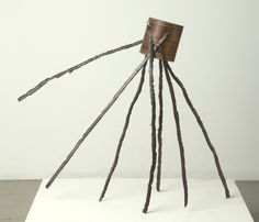 Walking Form. Assemblage by James Michael Starr: Found-object construction of wood factory mold and steel strips