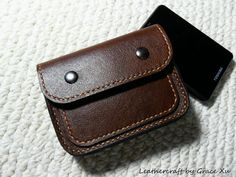 100% hand stitched handmade dark brown cowhide leather hard drive / Iphone / Ipod case / pouch / wallet