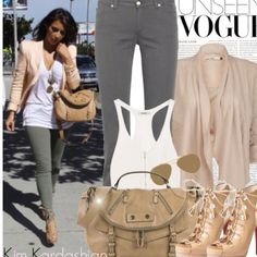 Casual Beige Blazer White T Shirt Olive Army Green Pants Heels