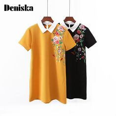 >> Click to Buy << 2017 Fashion Floral Embroidery Women Dress Vintage Spliced Color Peter Pan Collar Short Sleeve Knit Vestidos Casual Summer Dress #Affiliate
