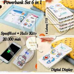 #powerbank set 6 in 1 #doraemon @ 335.000