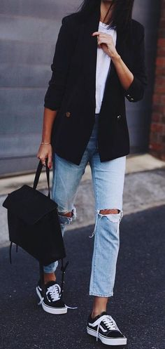fall street style. vans. ripped denim. blazer.