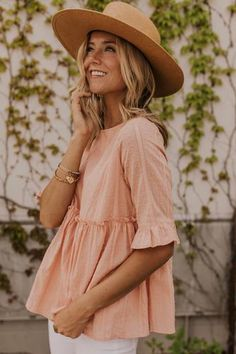 Fully lined modest women's trendy summer pink babydoll top. More modest boutique style at Utah based […] Modest Summer Outfits, Modest Dresses, Spring Outfits, Ladies Dresses, Ladies Shoes, Maxi Dresses, Girls Shoes, Bad Fashion, Fashion Week