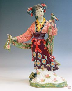 Qing Great Beauty - Shiwan Chinese Ceramic Lady Figurine : Art-sam.com➕More Pins Like This At FOSTERGINGER @ Pinterest✖️
