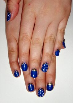 Sapphire and gold nails