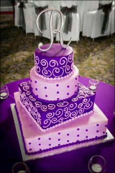 "Beautiful Bat Mitzvah cake from Lochel's Bakery with ""R"" cake topper."