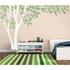 Birch Tree Nursery Wall Decal Forest Canopy Blowing Tree Leaves Vinyl Sticker Removable Choose From Over 50 Colors Custom White 1376 - Modern