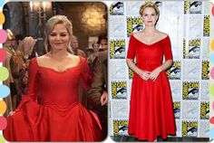 OUAT. Once Upon A Time. Love Jennifer Morrison's dress at Comic Con!!...it reminded me of Emma's red ball gown! She totally did that on purpose! :)