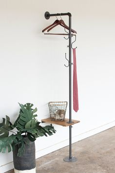 Metal Coat Rack with Side Table