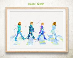 The Beatles - Watercolor, Art Print, Home Wall decor, Kids Gift, The Beatles Wall Art, Beatles Poster