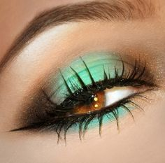Brown and mint green eye makeup look ~