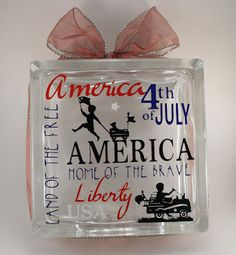 My Craft Spot: 4th of July Glass Block!  Cricut Vinyl - Use with our adhesive vinyl to create this look! www.happycrafters.com/adhesive-vinyl