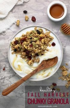 Homemade healthy granola is easier than you think! This Fall Harvest Chunky Granola is a blend of rolled oats and healthy nuts and seeds, mixed with fall flavors like pumpkin pie spice, apple cider and maple syrup. Make a double batch for an easy make-ahead breakfast option. #remodelaholic