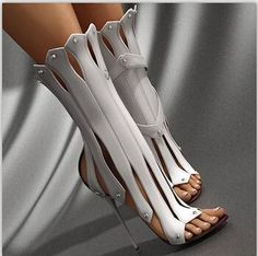 New Fashion Gladiator Women Sandal Boots Open Toe Cut-Outs Ultra Stiletto High H… Neue Mode Gladiator Frauen Sandale Stiefel. Crazy Shoes, Me Too Shoes, Weird Shoes, Frauen In High Heels, Illustration Mode, Unique Shoes, High Heels Stilettos, Shoes Heels, Buy Shoes