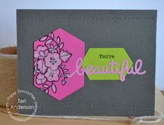 Card by PS DT Teri Anderson using PS Blossoming Buds, Kudos, Hexalongs, Stitches