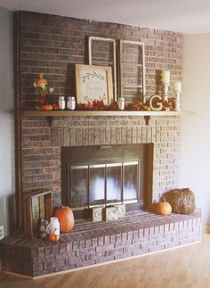 Our Cozy Rustic Chic fall red brick fireplace mantel decor. #falldecor #fireplacedecor #fireplace #rustic #mantel #fall