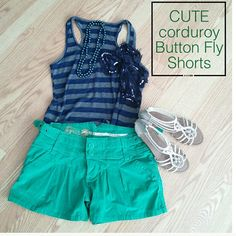 Cute BB Dakota Shorts (NWOT) This green corduroy shorts is NWOT. It is very cute with side buckle details. Button fly for closure. Color is similar to pic3. Materials: 98% cotton, 2% spandex. See pic4 for measurements. BB Dakota Shorts