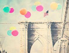 "Brooklyn Bridge - 8x10 photograph - ""Bright Balloons over the Bridge"" - fine art print - vintage photography - Colorful Balloons - whimsica on Etsy, $25.00"