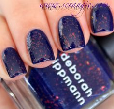 Deborah Lippmann - Ray of Light - Beautiful electric blue with different sizes of orange flakes
