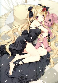 ✮ ANIME ART ✮ gothic. . .gothic fashion. . .dress. . .ribbons. . .lace. . .flowers. . .roses. . .hair ribbons. . .long hair. . .bed. . .pillows. . .stuffed rabbit. . .stitches. . .blushing. . .angry face. . .tsundere. . .cute. . .moe. . .kawaii