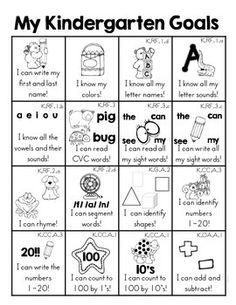 Kindergarten Goals Homework Insert by Melissa Moran Kindergarten Homework, Kindergarten Assessment, Kindergarten Activities, Kindergarten Curriculum Map, Kindergarten Orientation, Pre K Curriculum, Starting Kindergarten, Reading Assessment, Preschool Ideas