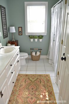 Holiday Ready Bathroom Refresh with BEHR Marquee Paint from At Home with The Barkers - I like the wall color and the rug pattern. Behr Marquee Paint, Behr Paint, Bathroom Renos, Paint Bathroom, Bathroom Layout, Small Bathroom Paint Colors, Neutral Bathroom Colors, Bathroom Ideas, Bathroom Green