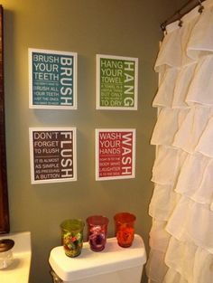 Kids bathroom - love the shower curtain