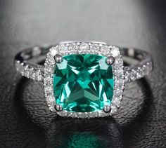 Weddbook is a content discovery engine mostly specialized on wedding concept. You can collect images, videos or articles you discovered  organize them, add your own ideas to your collections and share with other people | 8mm Cushion Emerald 14k White Gold/Yellow Gold/Rose Gold .31ct  Pave Diamonds Halo Wedding Ring Engagement Ring