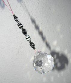 Feng Shui Crystal 40mm Sun Catcher Glass Beads Rainbow Ornament Black &…