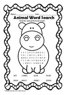 Free Kids Printable Activities: Zoo Animals Word Search