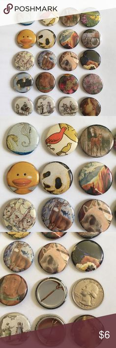 animal and random small buttons Set of 20 small pins with animals and random pictures. If you see some you like, feel free to ask me about a custom set! Jewelry Brooches