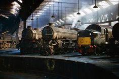 A Wednesday evening inside York North Shed (50A). Left to right are BR Standard Class 9F 2-10-0 92231, ex-LNER Class B1 4-6-0s 61238 (Leslie Runciman) and 61319, plus English Electric Type 4 1Co-Co1 D271, with ex LNER Class B1 4-6-0 61035 (Pronghorn) trying to muscle into the picture. 20th April 1966 The old shed is now the home of The National Railway Museum. A high resolution re-scan of a Kodachrome II transparency. Sorry for the slight camera shake. I don't think it detracts too much...