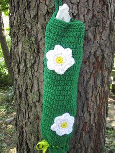 Crochet Plastic Bag Holder Primary Green by crochetedbycharlene, $16.00