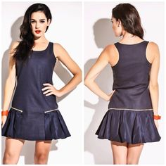 🌺Navy Blue Dress🌺 Too darn cute dark blue dress, with a removable ruffle! 2 dresses in one! Dresses