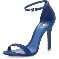 "Schutz. Caydee Lee Suede Stiletto Sandal, Navy. Schutz suede sandal. Buckled ankle straps. 4.25"" covered heel. Open toe. Leather lining and sole. Made in Brazi…"