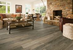 luxury vinyl flooring with fireplace