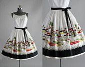Vintage 1950s Dress / 50s Cotton Dress / Teena Paige White Boat Novelty Print Sun Dress XS/S