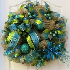 Peacock Christmas Wreath, turquoise green gold wreath, Christmas mesh wreath, holiday wreath, peacock wreath, poinsettia wreath, winter wreath