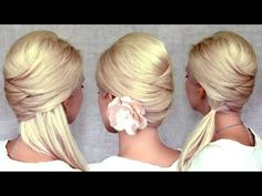 Criss cross hairstyles: half up half down, ponytail and updo for medium long hair tutorial