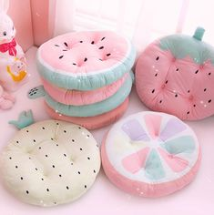 Fruits Kawaii, Girls Bedroom, Bedroom Decor, Kawaii Bedroom, Cute Furniture, Cute Room Decor, Pastel Room Decor, Cute Pillows, Cute Cushions