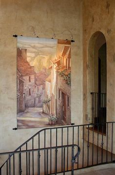 Surface Art Studio Tuscan mural tapestry and glazed plaster walls Vail CO Faux Painting, Mural Painting, Vail Co, Surface Art, Tuscan House, Plaster Walls, Golden Oak, Tuscan Style, Wall Ideas