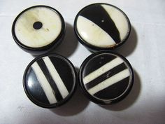 4 Black and White Horn Vintage ButtonsArt Deco by TheInstantMemory
