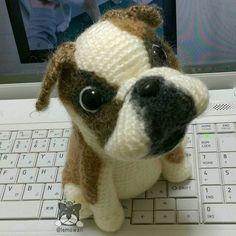 出来た( ´∀` )b ブルドック #amigurumi #crochet #dog #bulldog #handmade #knit #wool…