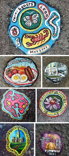 London, North: A selection of pavement chewing gum art by Ben Wilson.